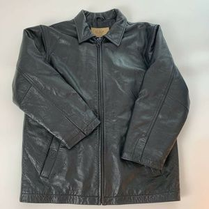 Gap Mens Fine Leather Jacket Brown Full Zip Sz XL